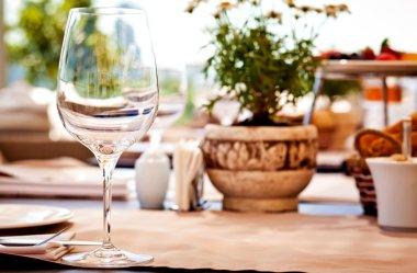 Summer terrace cafe setting
