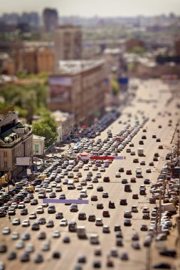 Moscow view with tilt-shift effect