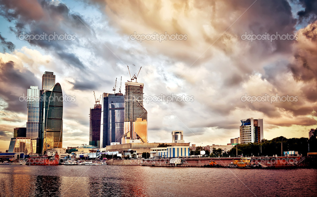Moscow cityscape at sunset
