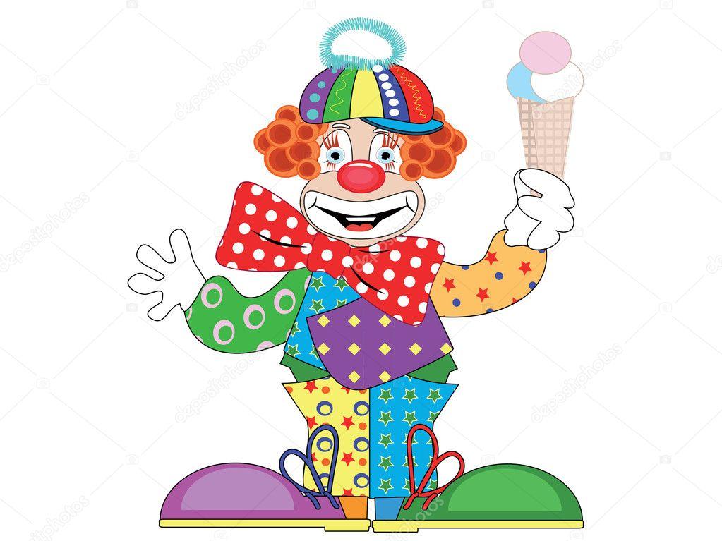 Clown with ice cream