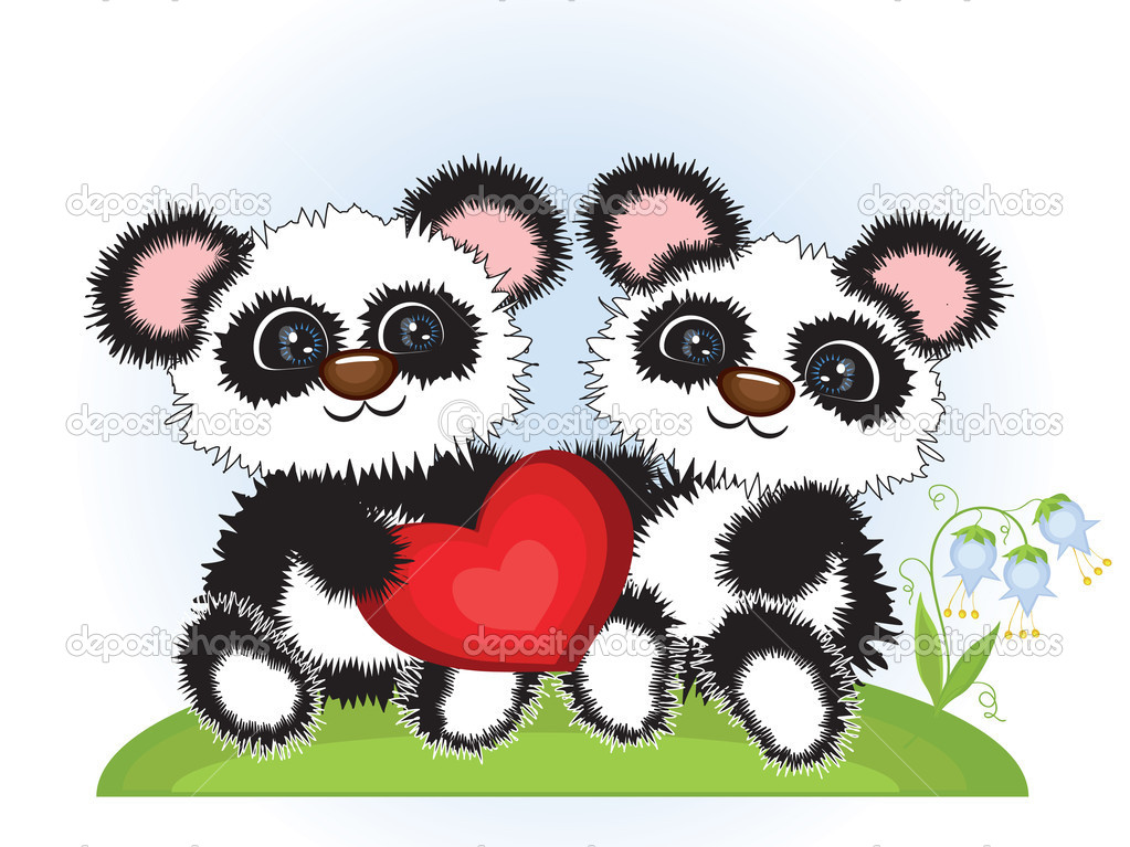 Two pandas with heart.