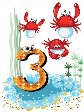 Sea animals and numbers series for kids ,3,crabs