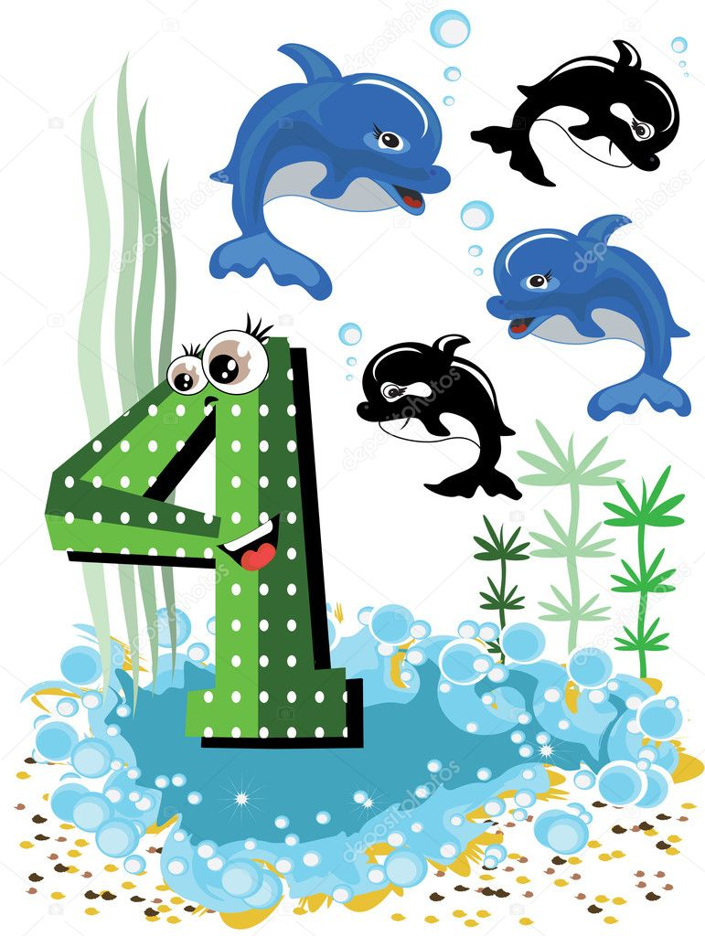 sea animals and numbers series for kids 4 dolphin u2014 stock vector