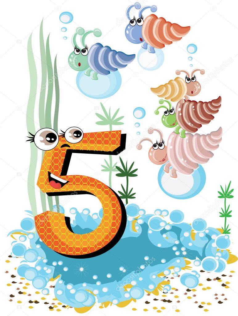 sea animals and numbers series for kids 5 shells u2014 stock vector