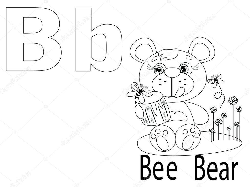 alfabeto para colorear para niños b — Archivo Imágenes Vectoriales ...