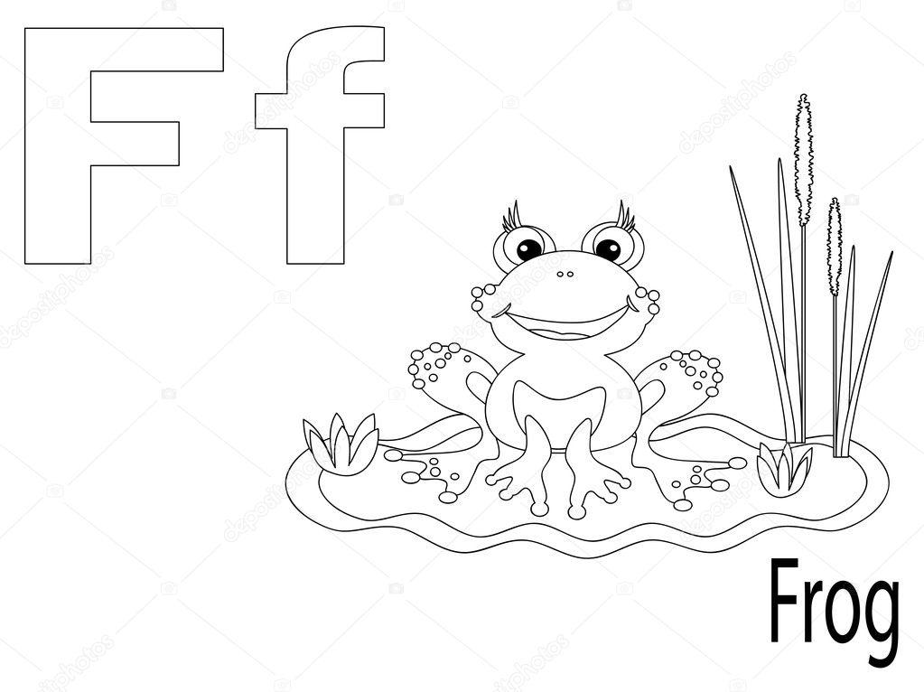 alfabeto para colorear para niños f — Archivo Imágenes Vectoriales ...