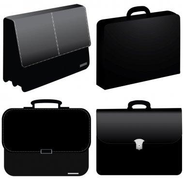 Black business bag - vector