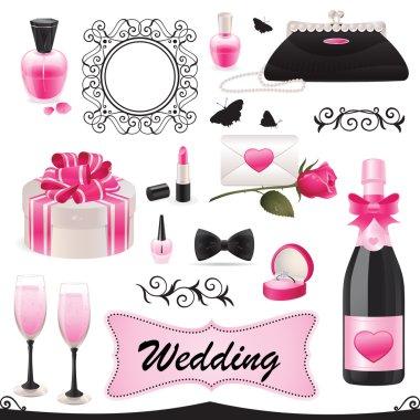 Vector illustration of a wedding icon set. clip art vector