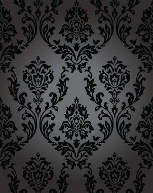 Seamless wallpaper baroque black
