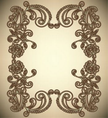 Vintage Frame with abstract flowers
