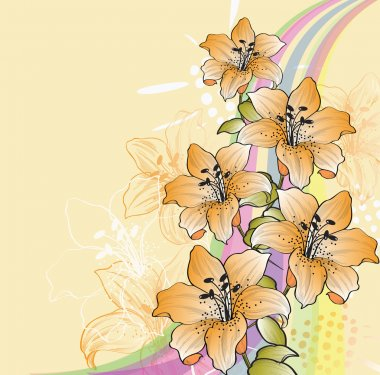 Floral background with lilies and rainbow eps10 stock vector