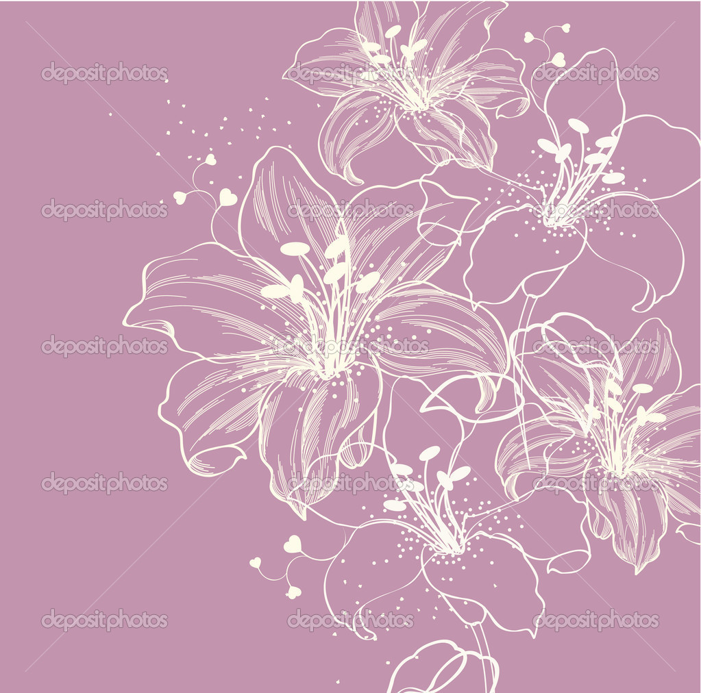 Floral background with blooming lilies