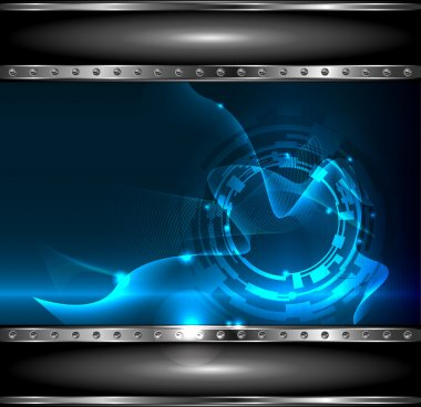 Technology background with metallic banner, vector