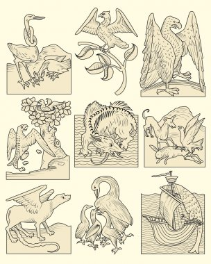 Set of animals and medieval scenes