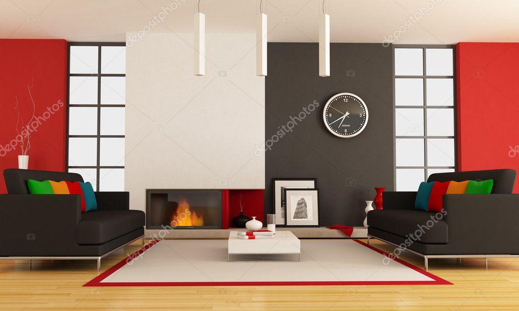 Salon contemporain avec cheminée — Photographie ...
