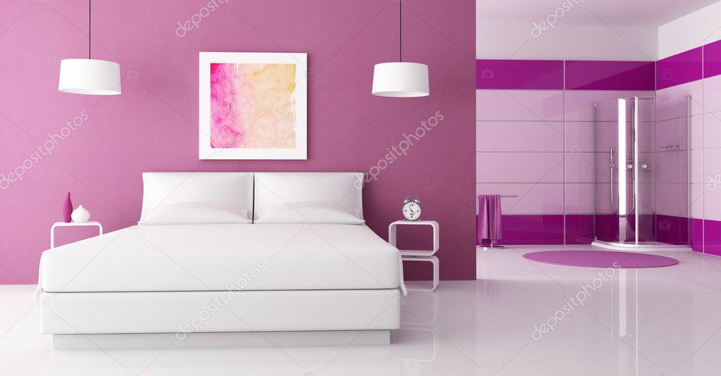 Camera Da Letto Rosa E Viola : Camera da letto di viola con cabina doccia u2014 foto stock