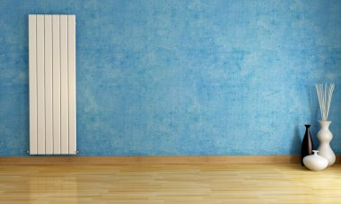 Blue empty room with radiator