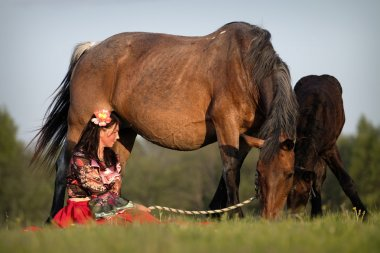 Beautiful girl with horses at sunset