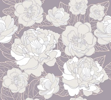 Seamless floral pattern. Background with peonies and cherry blossom flowers