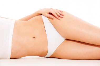 Woman's body in white underwear