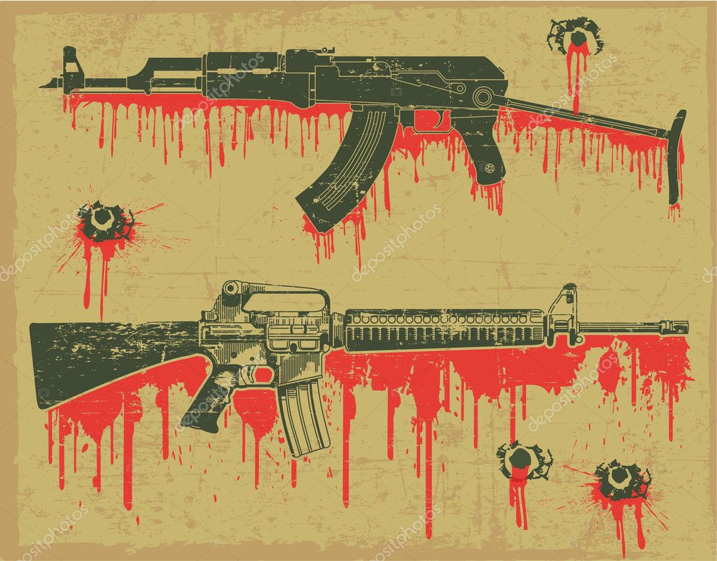The vector image Grunge weapon stamp stock vector