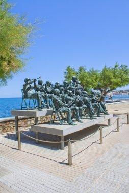 Estatua de banda de musica en L'Escala, (Costa Brava), Cataluña