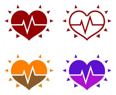 Icons of human heart with cardiogram isolated on white background stock vector