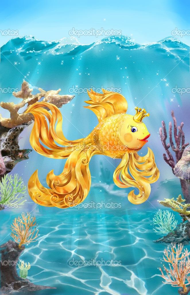 Colorful illustration of goldfish on the sea bottom.