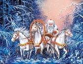 Ruská triple koní s santa claus jezdí zimní Les