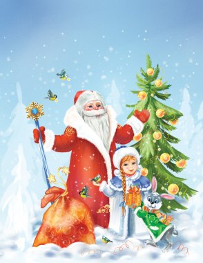 Santa Claus and the Snow Maiden in winter landscape