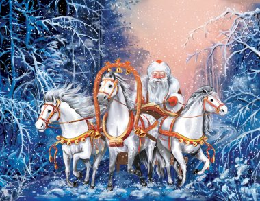 A russian triple of horses with Santa Claus rides the winter forest