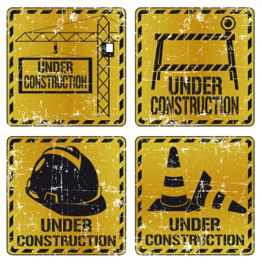 Under construction sticker set