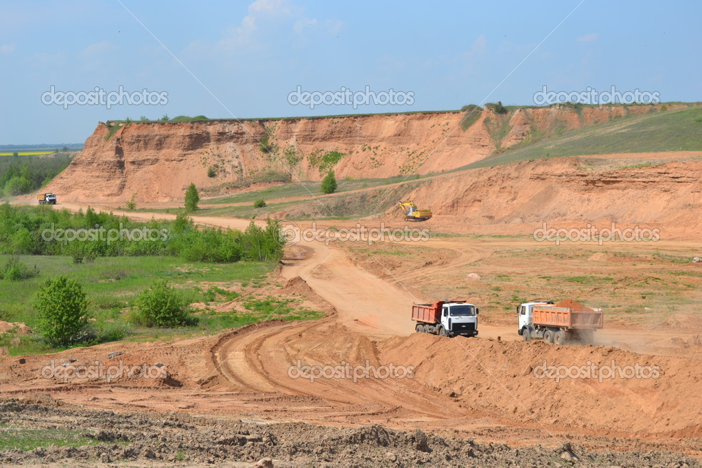 Sandy open-cast mine. Ljubansky area. Belarus.