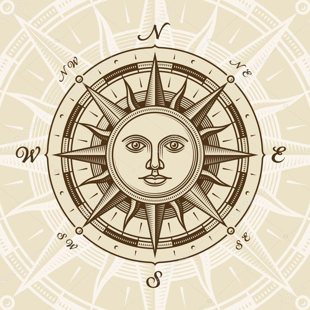 Vintage sun compass rose
