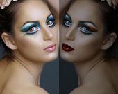 Fotografie Frau mit Türkis-Make-up