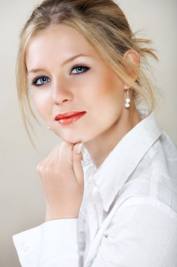 Businesswoman in white shirt