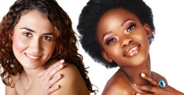 African and caucasian woman