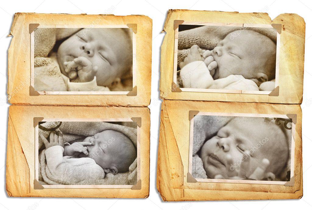 páginas del álbum Grunge con fotos color sepia de un bebé recién ...