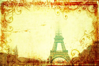 Eiffel Tower in winter on grunge background