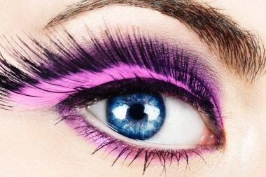 Macro of eye with fake eyelashes.