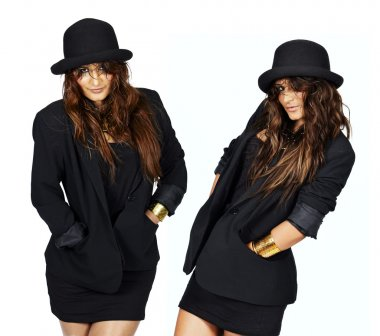 Model in jacket and hat