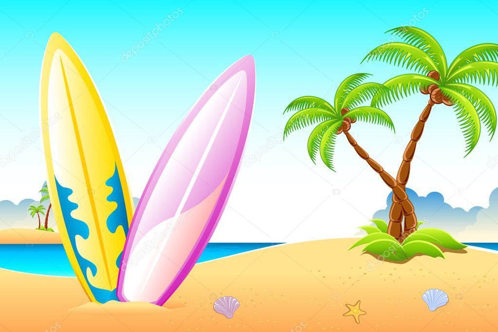Surf Board on Sea Beach