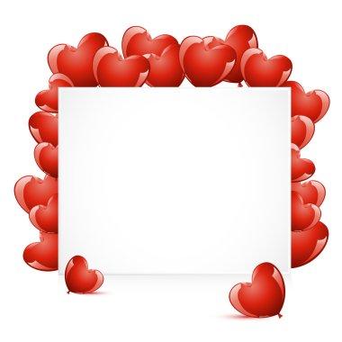 Illustration of heart shape balloon around card clip art vector