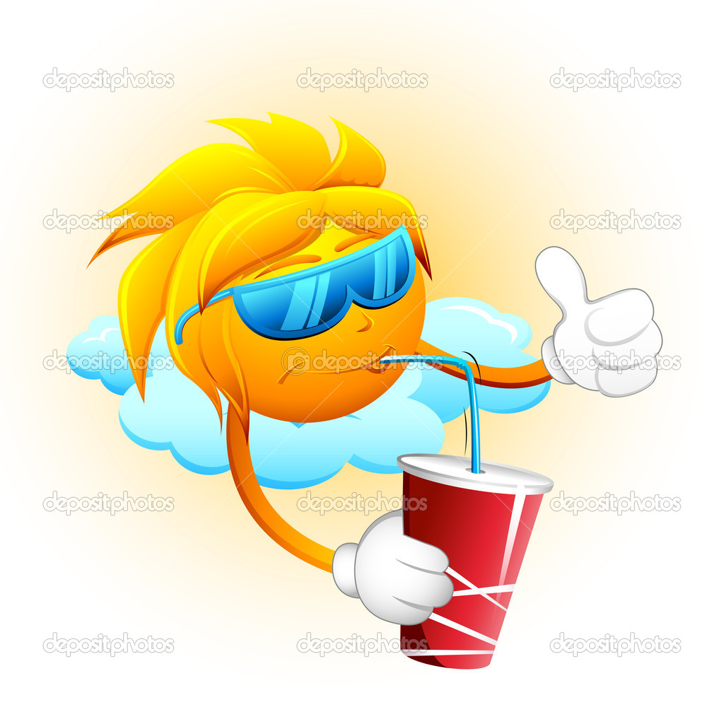 Sun Drinking Cold Drink