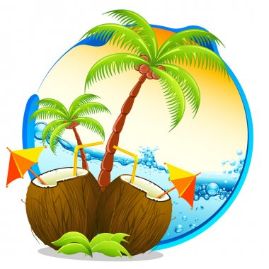Illustration of coconut cocktail with palm tree on tropical background stock vector