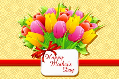 Illustration of bunch of tulip with card wishing happy mother's day clip art vector