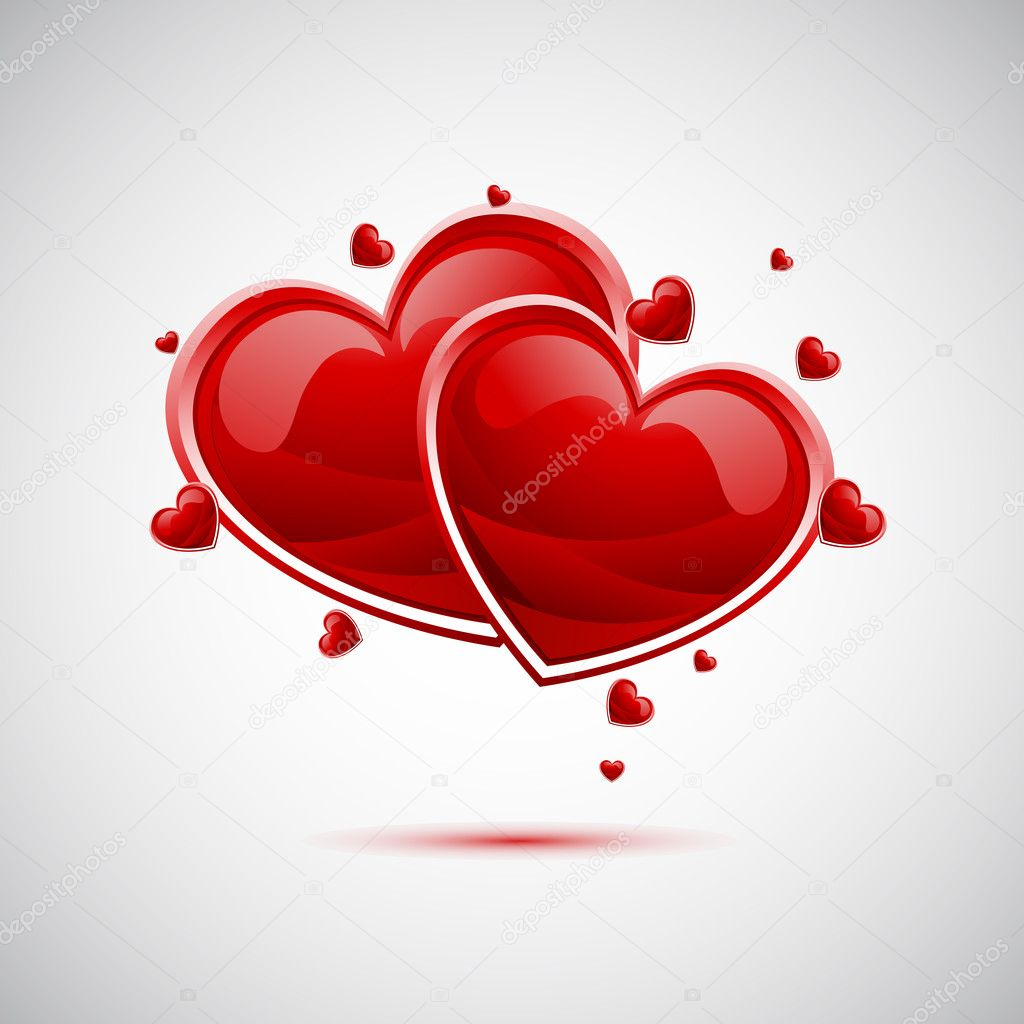 Illustration of pair of valentine heart on abstract background clipart vector
