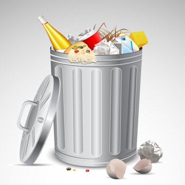Trash Bin full of Garbage