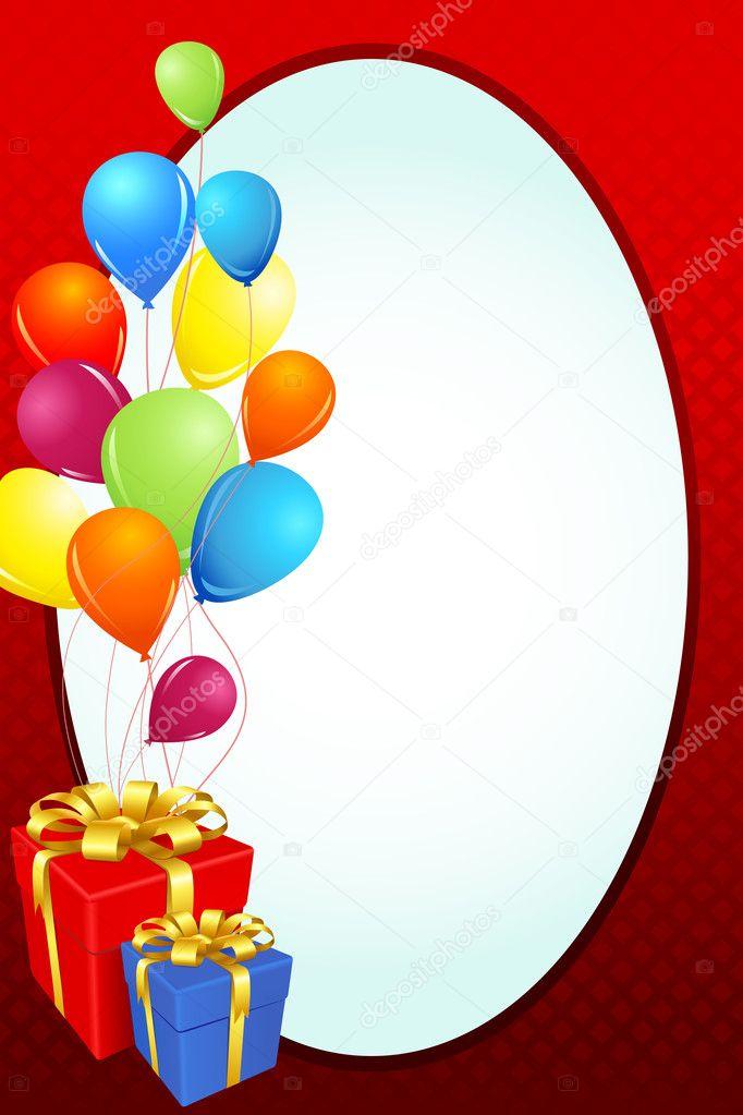 Geburtstagskarte mit Geschenk und Ballon — Stockvektor © vectomart ...