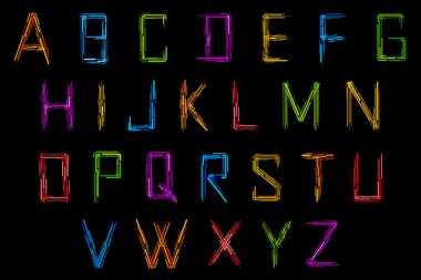 Illustration of set of alphabet in techno style clip art vector